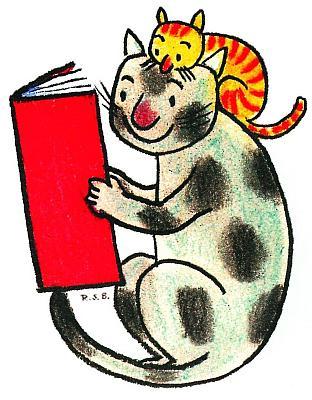 Logo des vereins, gezeichnet: ein Kater und eine Katze schauen in ein großes Buch