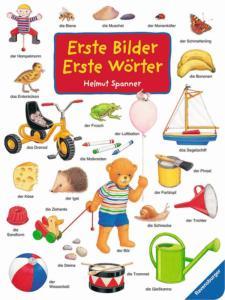 Titelseite des Buchs erste Bilder erste Wörter. Es sind verschiedene Gegenstände abgebildet, die es zu erkennen gilt.