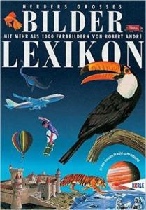 Titelseite des Bilderlexikons, Ein Flugzeug, ein Toucan und weitere gezeichnete Dinge sind auf dem Cover