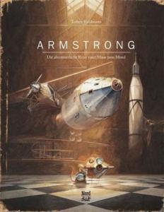 """Titelseite des Bilderbuchs """"Armstrong"""" von Torben Kuhlmann. Zeichnung einer Maus vor Raumschiffen."""