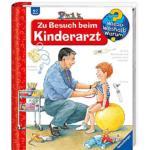 Titelseite des Buchs: Ein Arzt untersucht das Kind, welches auf einem Gymnastikball sitzt..