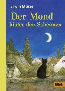 Titelseite des Buchs: Eine schwarze Katze sitzt vor Häusern und Gärten und schaut auf einen Sichelmond