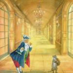 Aquarellzeichnung: ein Kater in Stiefeln schaut einen stattlich gekleidete Person im Königssaal an.