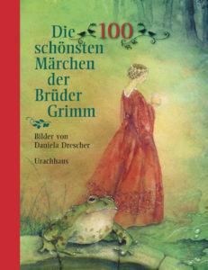 Titelseite des Buchs Eine Frau mit Krone und einem langen Kleid schaut auf eine goldene Kugel. Vor ihr sitzt ein Frosch.